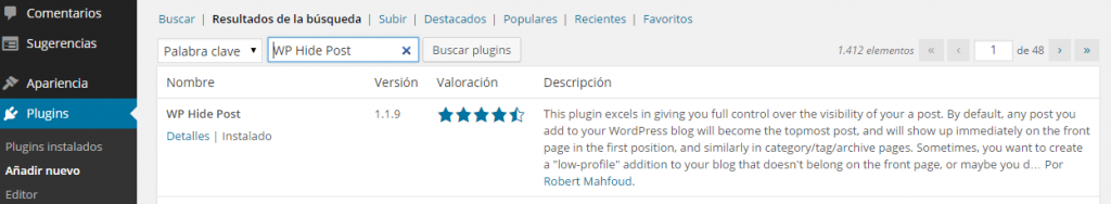Plugin WP Hide Post