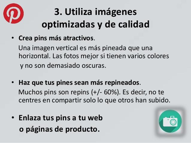 Utilizar imágenes optimizadas en Pinterest