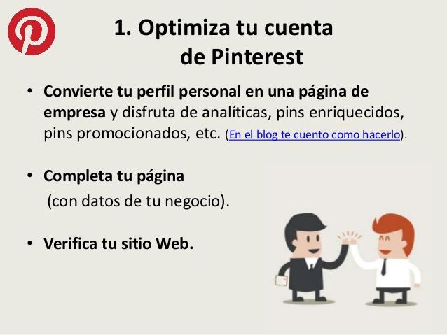 cómo optimizar una cuenta de Pinterest