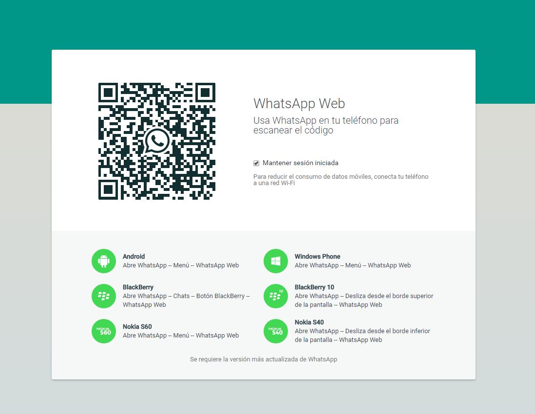 Escanear código para whatsapp web