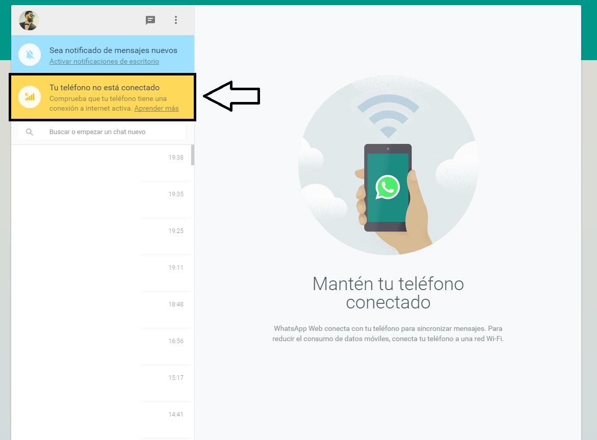 Sin conexión no funciona whatsapp web