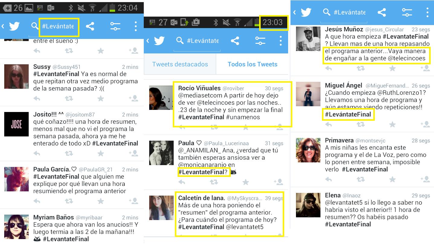 Usuarios de twitter #LevantateFinal