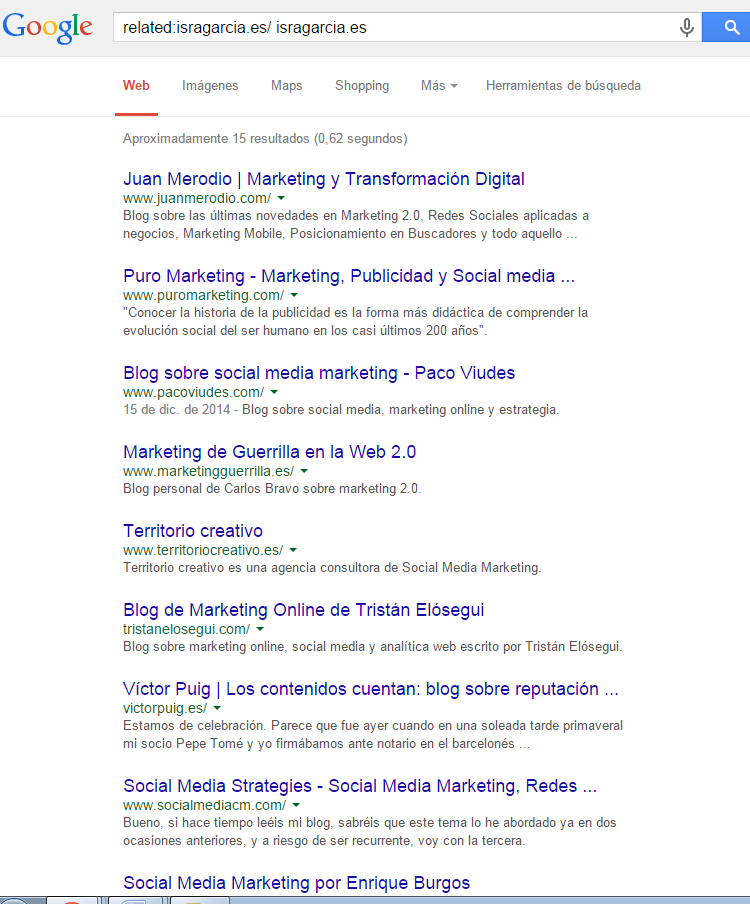 comando related de google
