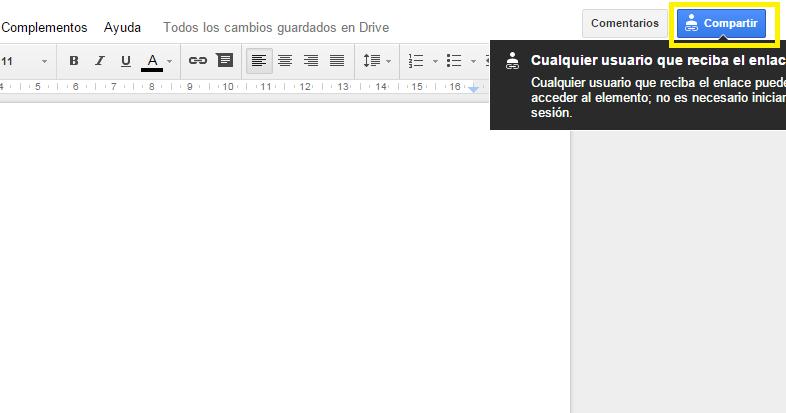 Botón de compartir documentos-Google Docs