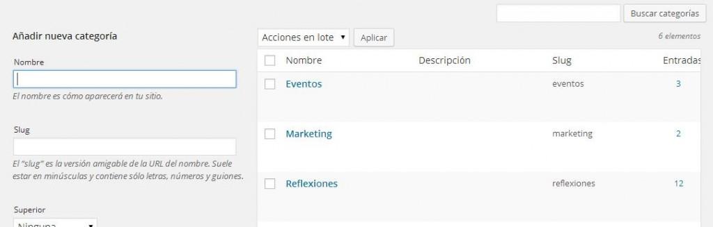 wordpress categorías