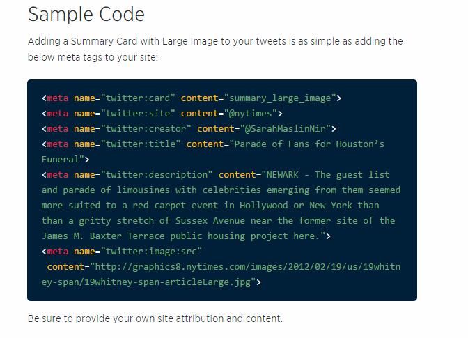 Código de ejemplo de una twitter card