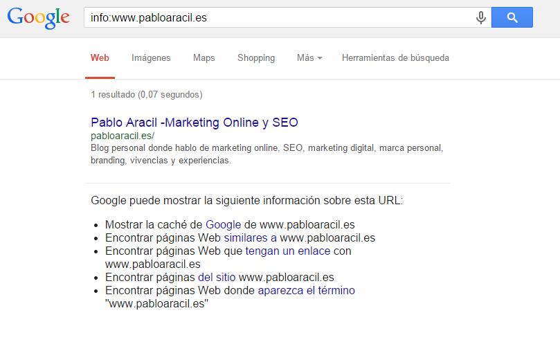 comando info en Google