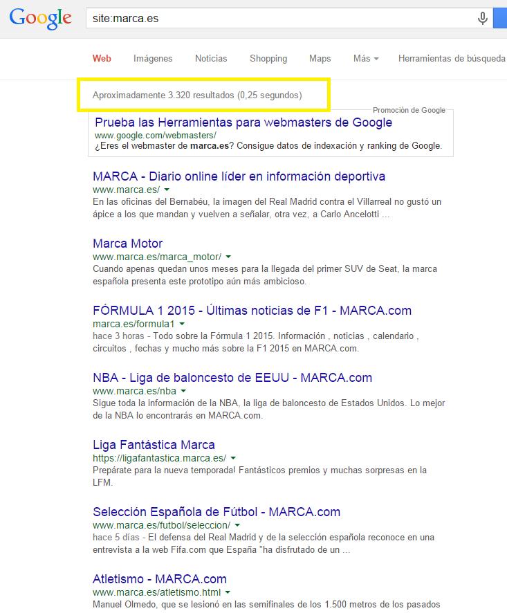 comando site de google