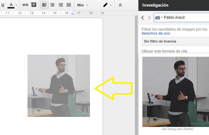 Arrastrar la imagen-Google Docs
