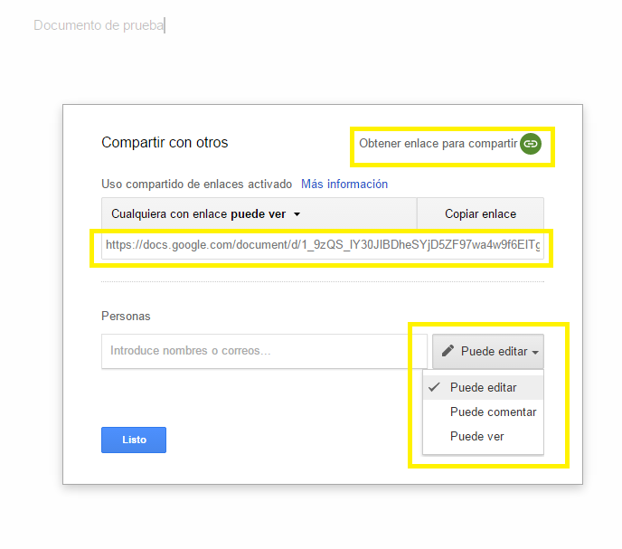 Comparte documento con Google Docs