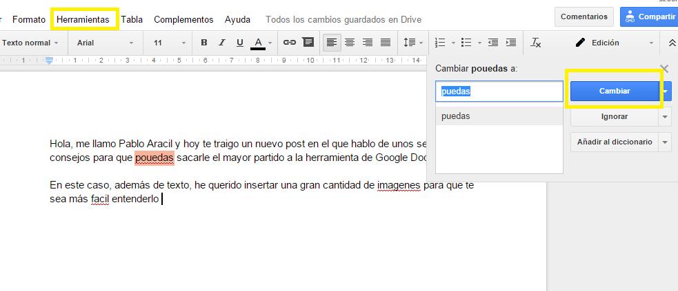 Corrector ortográfico en Google Docs