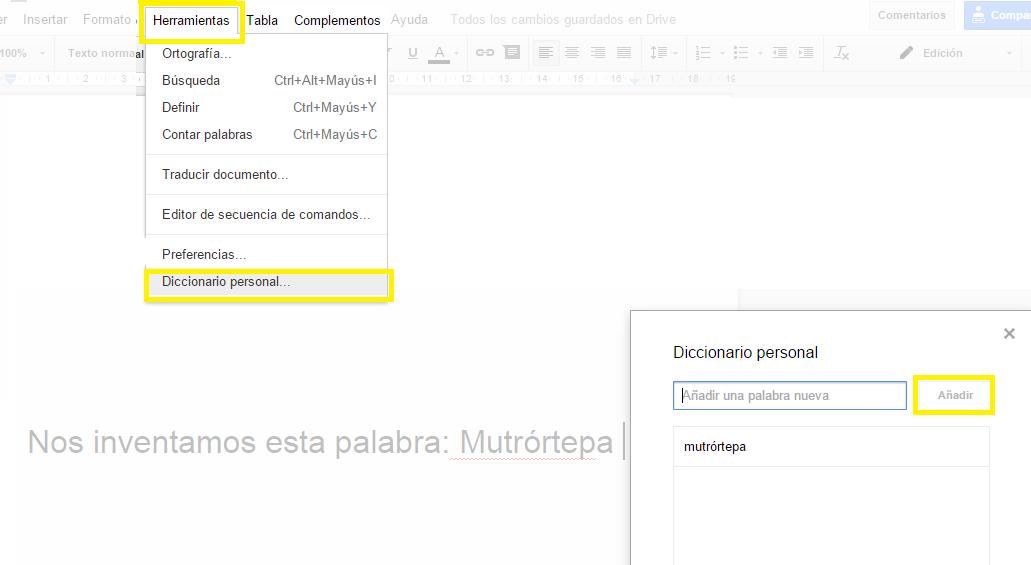 Diccionario propio en Google Docs