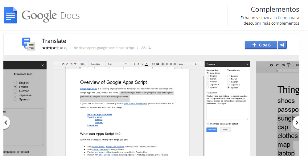 Google Translate en google Docs