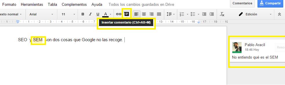 Insertar comentarios en Google Docs