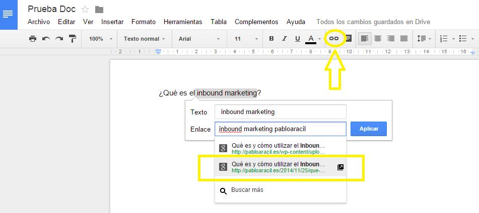 Insertar enlaces desde webs en Google -Google Docs
