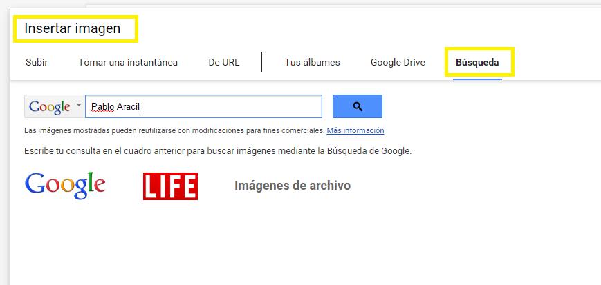 Insertar imágenes en Google Docs