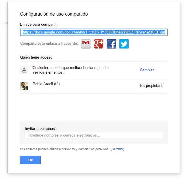Opciones Avanzadas de compartir en Google Docs